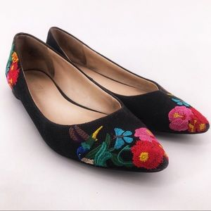 Nine West Embroidered Hummingbird Butterfly Flats